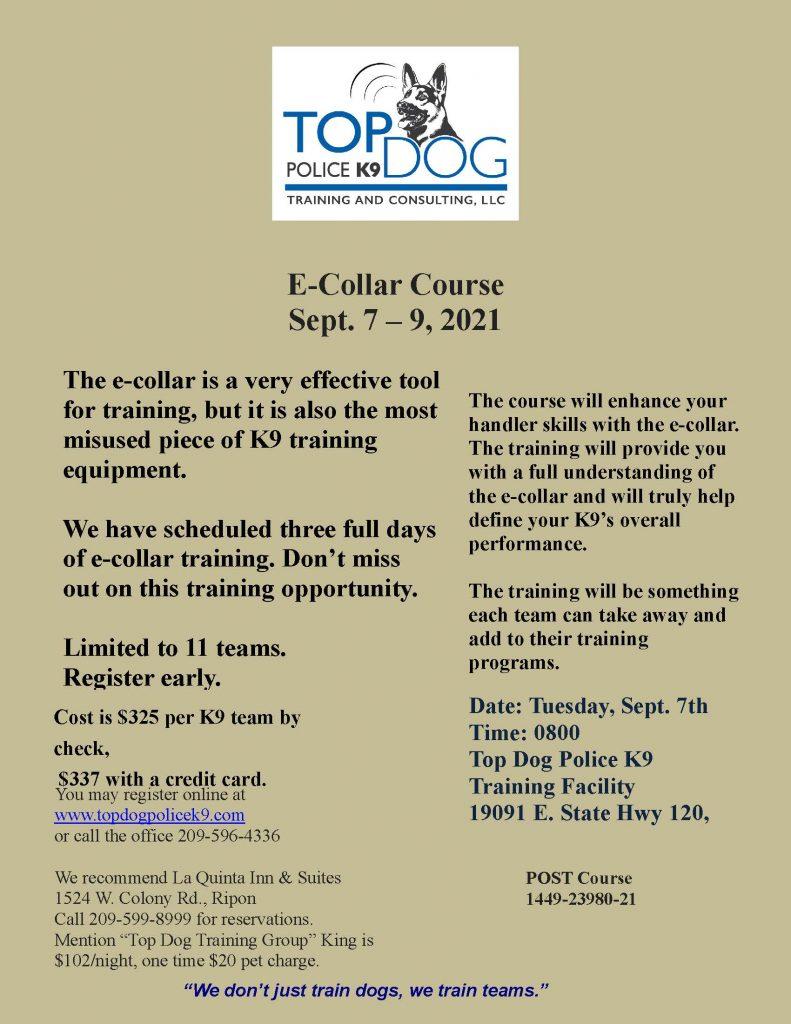 E-Collar Course flyer 2021